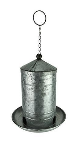 "LL Home 11"" Decorative Galvanized Metal Hanging Silo Wild Bi"
