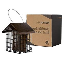 Double Suet Wild Bird Feeder With Hanging Metal Roof Two Sue