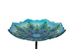 Evergreen Garden Peacock Glass Bird Bath Bowl with Metal Sta