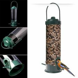 EP_ Green Hanging Wild Bird Feeder Seed Container Hanger Gar