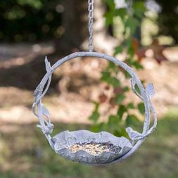 Finchwood Hanging Bird Feeder-Rustic-Farmhouse Grey Metal-Vi