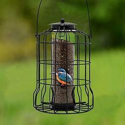 FORUP Caged Tube Feeder, Squirrel Proof Wild Bird Feeder, Ou