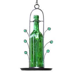 FREE SHIPPING ~ NEW Bird Seed Feeder Green Glass Wine Bottle