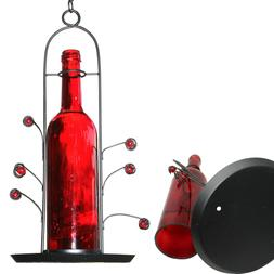 FREE SHIPPING ~ NEW Bird Seed Feeder Red Glass Wine Bottle ~