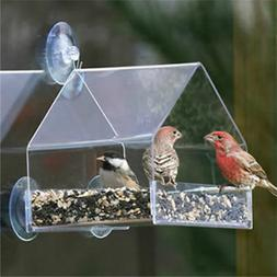 Garden Acrylic Window Bird Seed Feeder with Strong Suction C