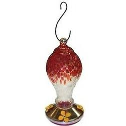 Garden Treasures Glass Hummingbird Feeder Classic Red Floral
