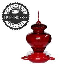 HANGING GLASS HUMMINGBIRD FEEDER Red Garden Treasures 27 oz
