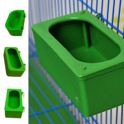 Green Bird Parrot Food Water Bowl Pigeons Pet Cage Cup Feede