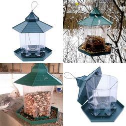 Green Pavilion Bird Feeder Plastic Hanging Bird Food Contain