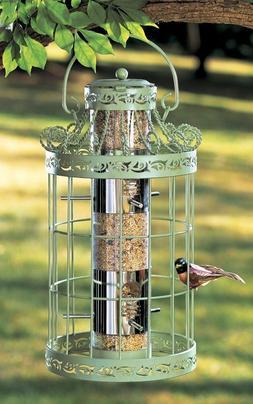 Green Spring Hanging Metal Bird Feeder Seed Birds Garden Squ
