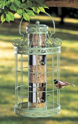 Green Springtime Hanging Metal Bird Feeder Seed Birds Garden