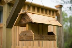 Handcrafted Large Wooden Bird Feeder Made from Reclaimed Woo