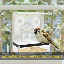 Hanger  Square Ceiling Window Bird Feeder Adsorption Type Ho
