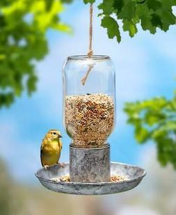 HANGING MASON JAR BIRD FEEDER WITH GALVANIZED METAL DISH HAN
