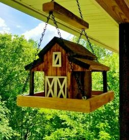 HANGING Small Old Red Barn Bird Feeder Solid Cedar Wood Hand