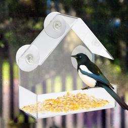 Hot Clear House Window Bird Feeder Birdhouse With Suction Ou