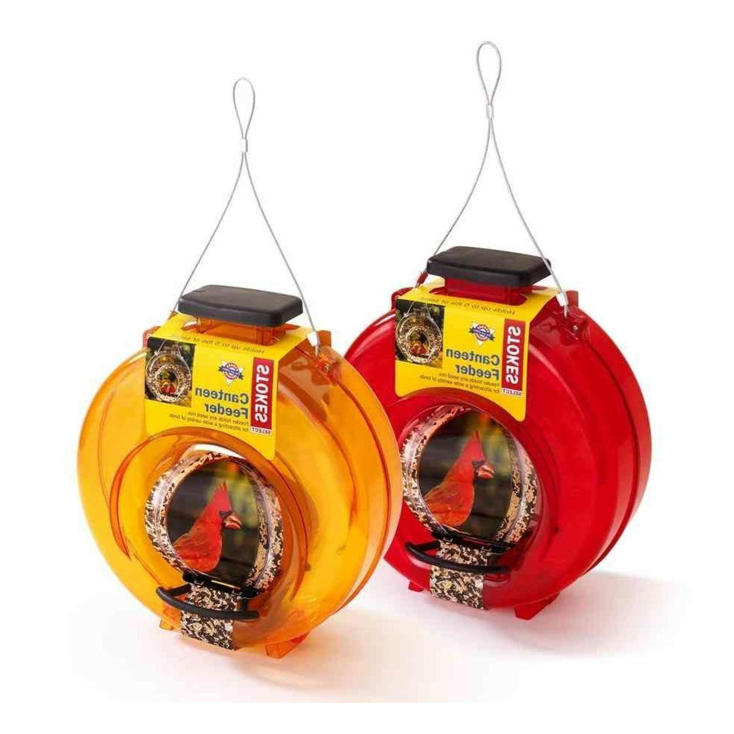 1 orange plastic canteen bird feeder