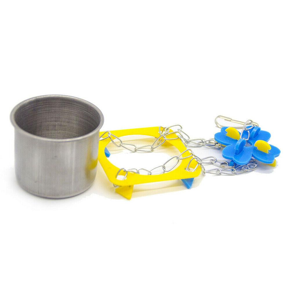 1 Parrot Food Cup Stainless Steel Useful Pet Supplies Feeder for