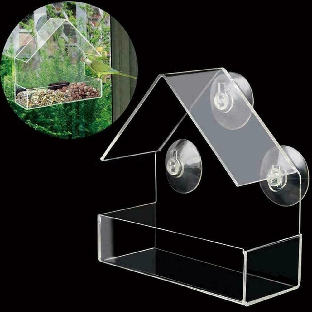 1 Clear House Window Bird Feeder Birdhouse Suction W U8W4