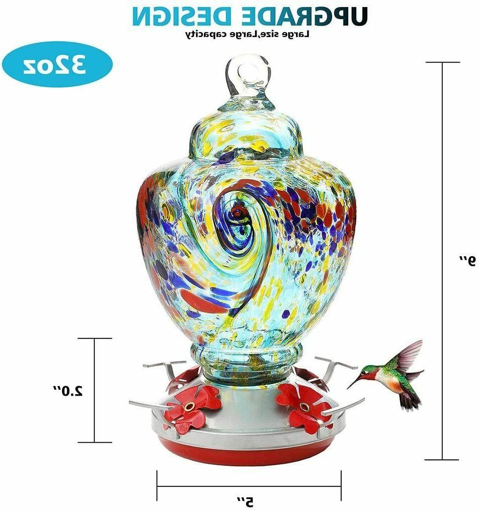 32oz Bird Feeder with Blown Glass Leakproof