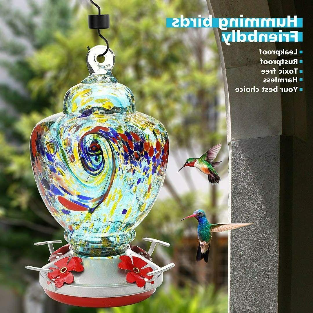32oz Hummingbird Feeder with Color Blown Leakproof