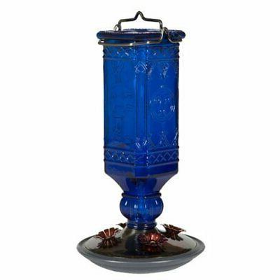 Perky-Pet Cobalt Blue Antique Bottle Hummingbird Feeder, 16