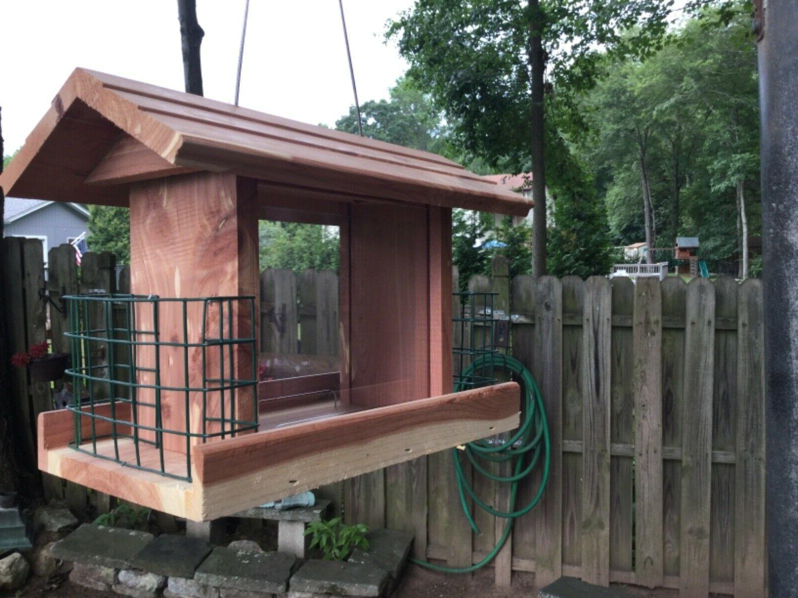 Beautifully Made combination Red Cedar Feeder With Double holder