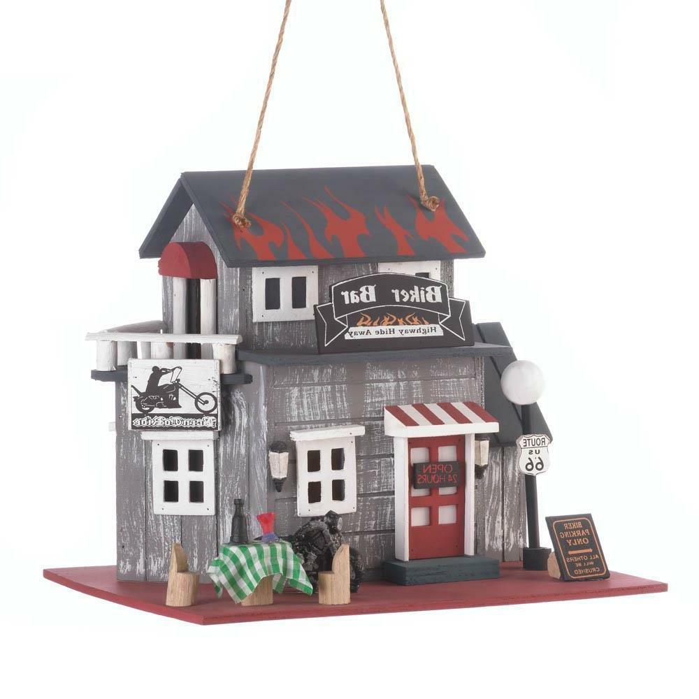 Biker wood fairy feeder birdhouse
