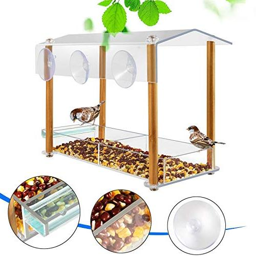 Bird feeder, size cups & seed tray, drinking-water pillar support, with shield hole, outdoor acrylic house