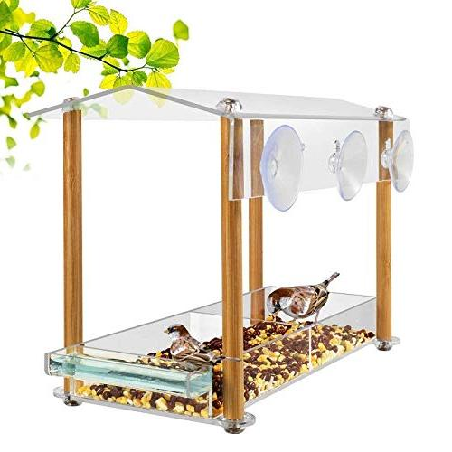 Bird feeder, strong size with & seed drinking-water pillar support, with shield drain hole, house