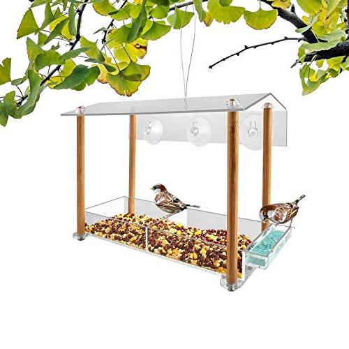 Bird strong size with & seed tray, separate drinking-water sink pillar weatherproof shield roof & hole, house