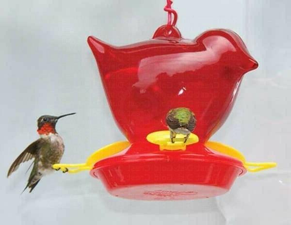Bird Feeder, Red Bird Shaped Hanging  Hummingbird Birdfeeder