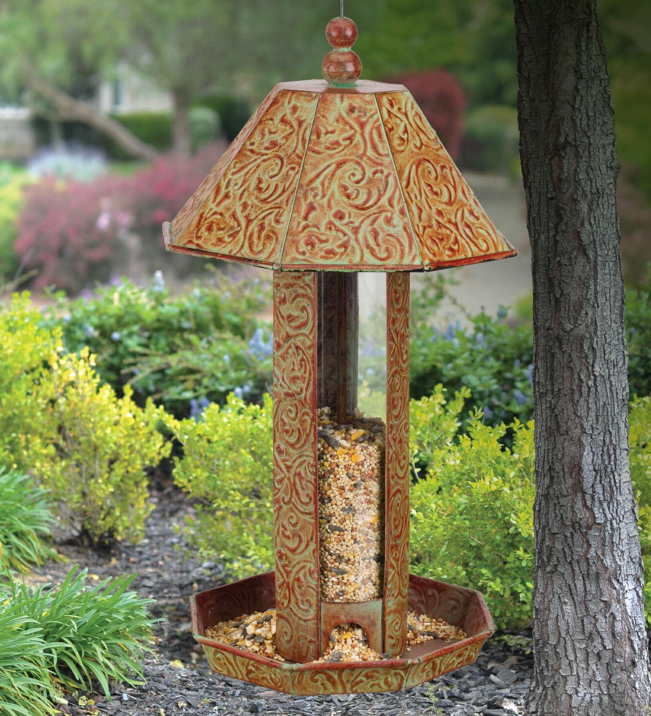 Bird Feeder - BLUE SWIRL - Metal & Glass - Regal Art & Gift