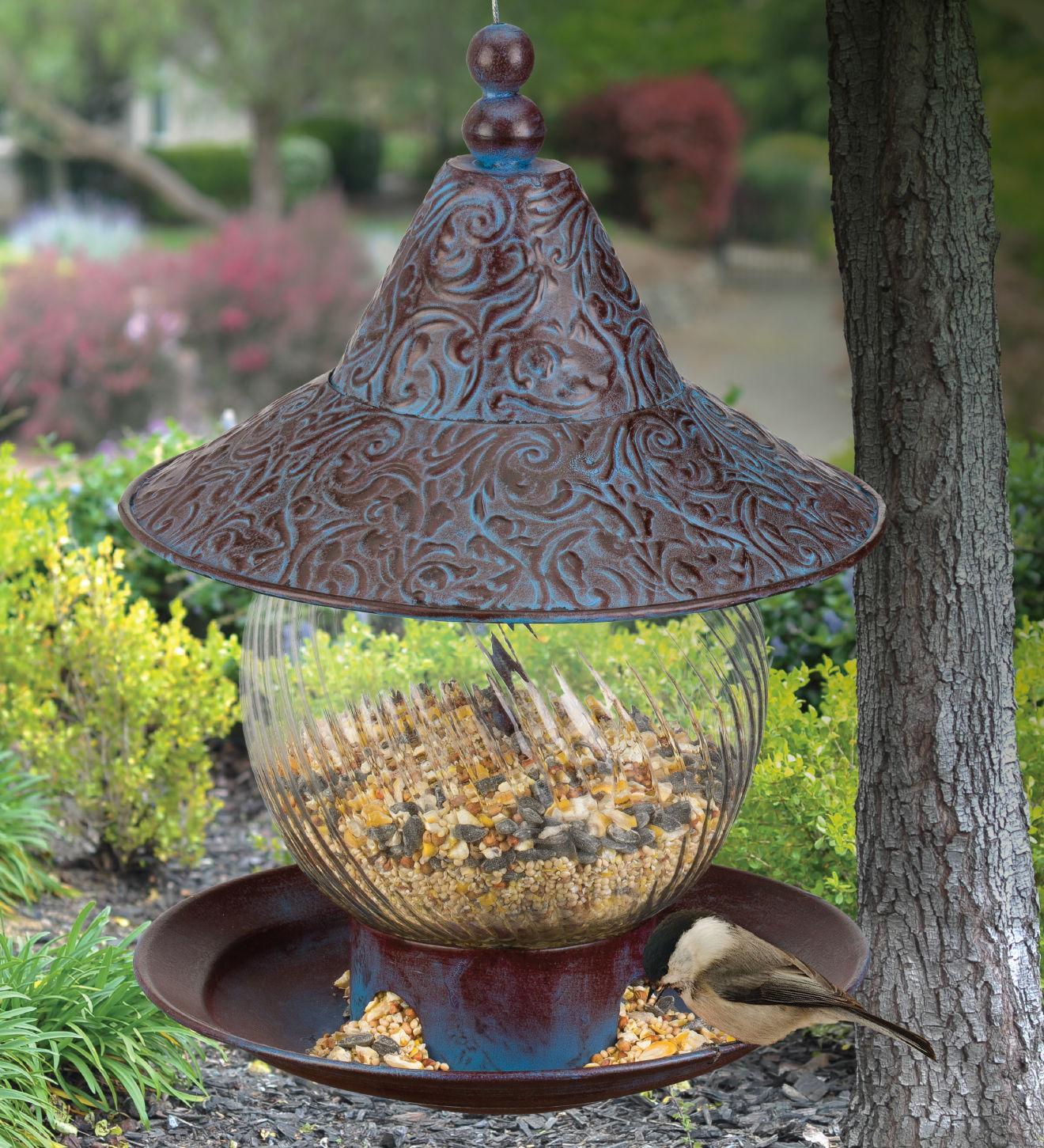 Bird Feeder - Green Branches  - Metal & Glass - Regal Art &