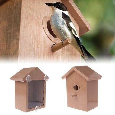 Pet Window Birdhouse With Suction Cup Garden Outdoor Nest