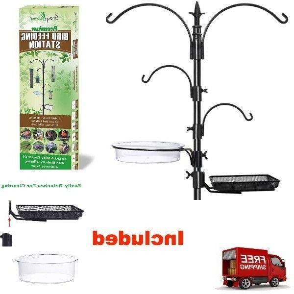 bird pole feeder station removable hangers bird
