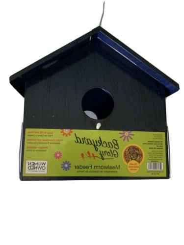 blue metal bird mealworm feeder
