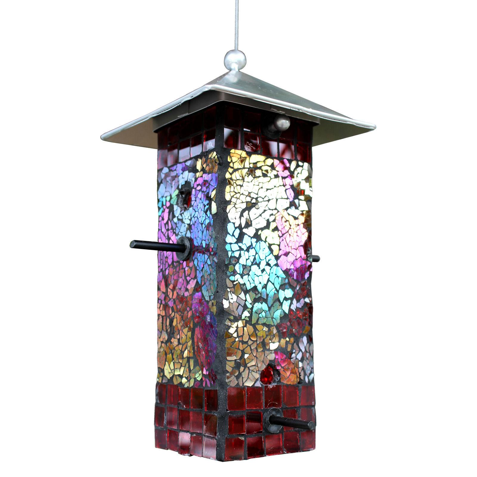 Mosaic Stained Glass Feeder Large NEW Yard Art Metal Top