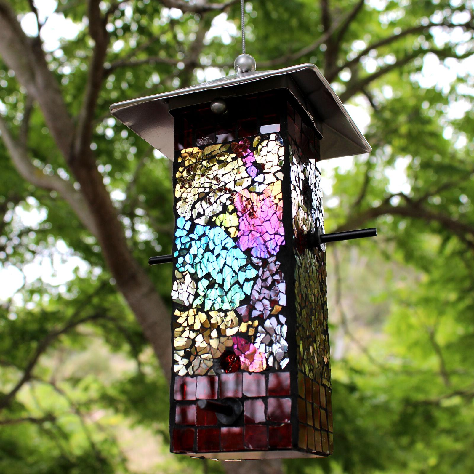 mosaic stained glass bird feeder large capacity