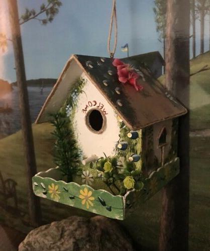 Bungalow Decorative Hand-Painted Bird House Garden Hanging B
