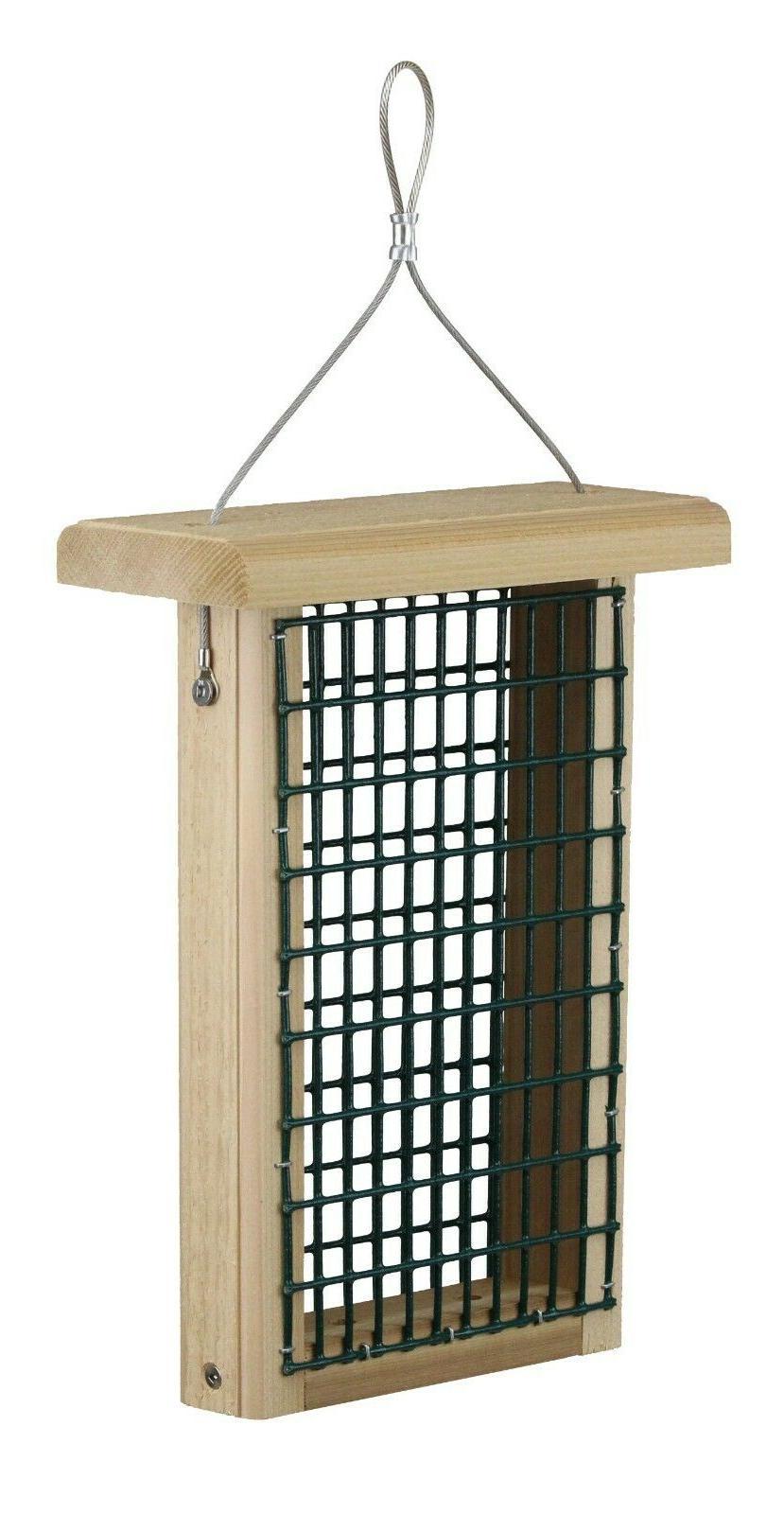 cedar double suet feeder wild bird woodpecker