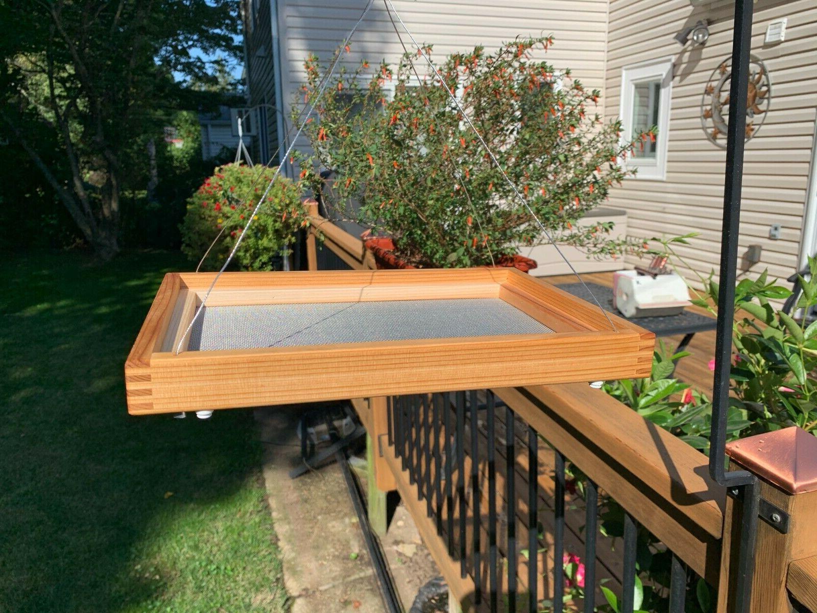 cedar hanging platform tray feeder for birds
