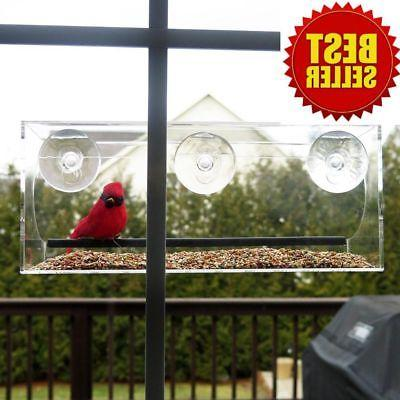 Clear Window Bird Feeder Acrylic Outdoor Squirrel Proof Bird