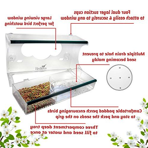 Birdious Deluxe Feeder Suction Cups & Seed Tray, Enjoy Clear Birds. Large Proof Birdfeeder on Gift