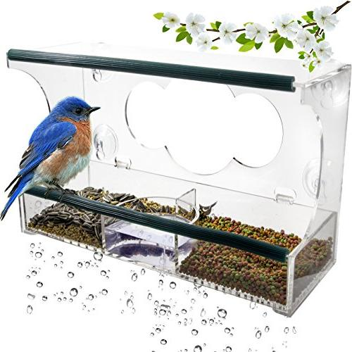 deluxe clear window bird feeder