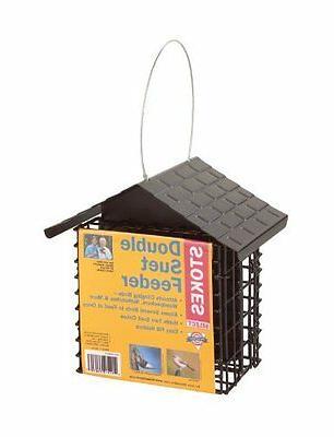 double suet bird feeder with metal roof
