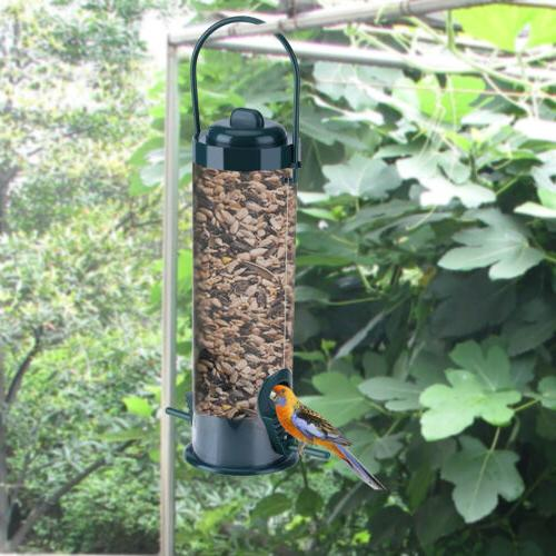 Green Hanging Wild Bird Feeder Seed Container Hanger Garden