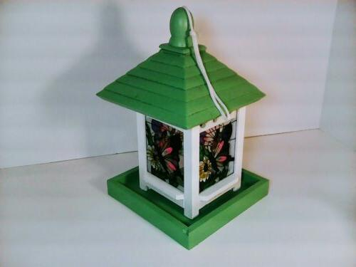 Green White Wood Bird Feeder Butterfly Glass Panels