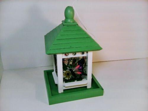 green and white square wood bird feeder