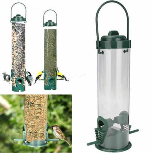 green hanging wild birds feeder seed containers